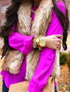 Don't be afraid to bring out the brights this fall! How fabulous is this faux fur & pop of pink combo?