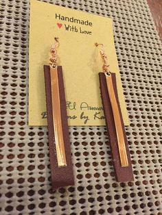 Leather and Copper Drop earrings, Brown Essential oil diffuser earrings, Gift Idea, Joanna Gaines Inspired Leather stripes can be ordered 2 - 3.5 long. Great for Essential Oil diffusion as leather is a great diffuser. Copper wires.