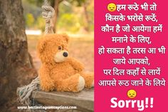 Sorry Shayari In Hindi and Maafi Shayari or Sorry Sms Images for Girlfriend / Boyfriend and Husband / Wife. we are adding best Sorry Shayari and Sorry Sms or Maafi Shayari. Sorry Shayari In Hindi, I Am Sorry, Boyfriend, Husband, Teddy Bear, Animals, Text Posts, Animales, Im Sorry