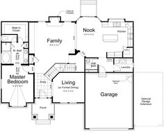 Hamilton Rustic Ivory Homes Floor Plan - Main Level - like kitchen, fireplace, master bath