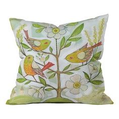 """Woven throw pillow with a flowering tree and perching birds motif from DENY Designs. Made in the USA.    Product: PillowConstruction Material: Woven polyester coverColor: MultiFeatures: Designed by Cori Dantini for DENY Designs Dye sublimation printed  Concealed zipper closureInsert included Made in the USADimensions: 16"""" x 16""""Cleaning and Care: Spot treat with mild detergent"""
