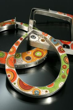 3 Bangle bracelets. Fabricated sterling silver with polymer clay inlay
