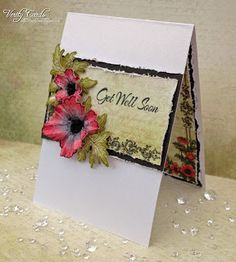 Card made using the Heartfelt Creations Blazing Poppy collection. Made by Liz Walker