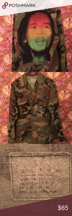 Bob Marley camo jacket Cool Bob Marley camo jacket. Back patch was a t shirt I sew on. Size is a men's small so should fit a women's medium Jackets & Coats Military & Field