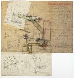 logarchitecture:  Carlo Scarpa, Study for the entrance at the Museo di Castelvecchio. Verona, Italy
