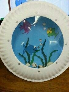 Misadventures Of A Ya Librarian Porthole Fish Craft Ideas Of Paper Plate Ocean Crafts Kids Crafts, Paper Plate Crafts For Kids, Sea Crafts, Summer Crafts, Toddler Crafts, Preschool Crafts, Paper Crafts, Seashell Crafts Kids, Sea Life Crafts