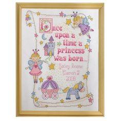 Baby Girl Birth Record Cross Stitch Sampler
