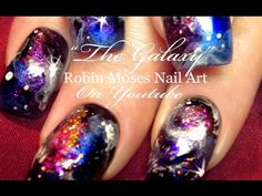 My Galaxy Nails | Glittery Space Dust Nail Art Design Tutorial - YouTube