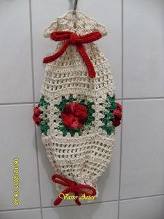 Crochet Crafts, Crochet Yarn, Crochet Flowers, Plastic Bag Crochet, Diy And Crafts, Arts And Crafts, Plastic Bag Holders, Crochet Kitchen, Produce Bags