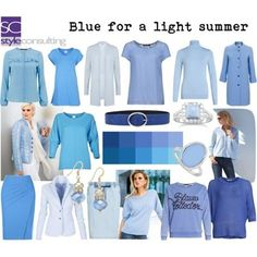 Blue for a light summer. Summer Color Palettes, Soft Summer Color Palette, Summer Colors, Fashion Colours, Colorful Fashion, Cooler Style, Seasonal Color Analysis, Color Me Beautiful, Light Spring