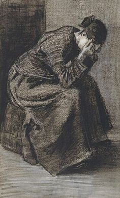 Vincent van Gogh (1853 - 1890), Mourning woman seated on a basket, 1883