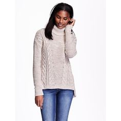 Old Navy Womens Cable Neck Turtleneck Sweater ($45) ❤ liked on Polyvore featuring tops, sweaters, brown, cable turtleneck sweater, long sleeve sweaters, pink turtleneck sweater, old navy sweaters and cable knit sweater