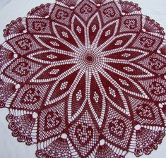 Crocheted burgundy thread tablecloth with kaleidoscope design adorned with hearts and delicate fans - READY TO SHIP Unique Crochet, Crochet Round, Beautiful Crochet, Vintage Crochet, Crochet Mandala, Crochet Motif, Crochet Flowers, Hand Crochet, Crochet Table Topper