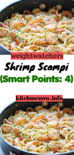 Ingredients: 8 ounces raw shrimp, peeled, tails removed, deveined 2 tablespoons light whipped butter or light buttery spread 2 bags House Foods Tofu Shirataki Fettuccine Shaped Noodle Substitute[. Weight Watchers Shrimp, Weight Watchers Meal Plans, Weight Watcher Dinners, Weight Watcher Shrimp Scampi Recipe, Weight Watchers Smart Points, Low Calorie Shrimp Recipe, Calories Shrimp, Raw Shrimp Recipe, Recipes With Cooked Shrimp