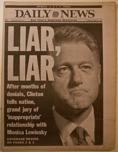 Bill Clinton Scandal   the political sector politicians are deemed scumbags womanizers and ...