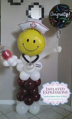 Balloon nurse - Decoration For Home Nurse Grad Parties, Nurse Party, Graduation Party Decor, Medical Party, Army Party Decorations, Party Themes, Party Ideas, Costume Halloween, Doctor Party