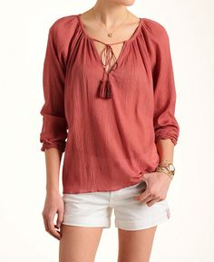 Love Sam Gauze Peasant Top at @southmoonunder