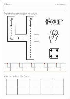 Numbers Preschool, Math Numbers, Preschool Lessons, Preschool Kindergarten, Preschool Learning, Kindergarten Worksheets, Teaching Math, Math Lessons, Preschool Activities