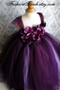 Flower girl tutu dress, flower top, hydrangea top, can be made in other colors $70.00, via Etsy.