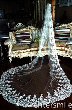 White/Ivory Alencon Lace Edge 1 T Tulle Bridal Mantilla Wedding Veils With Comb