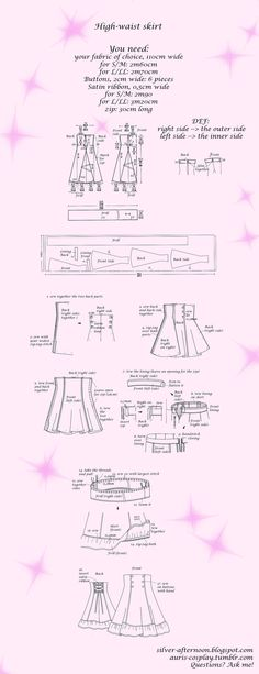 Learning to Sew — auris-cosplay: Lolita High-waist skirt tutorial. Diy Clothing, Sewing Clothes, Clothing Patterns, Estilo Lolita, Dress Tutorials, Sewing Tutorials, Lolita Fashion, Diy Fashion, Waist Skirt