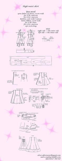 Lolita High-waist skirt tutorial and pattern by Auris-Lothol on deviantART