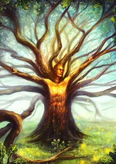 In Swedish folklore, radande are fey tree spirits. They are bound to a single tree until it dies, though it is said that they can occasionally take human form and move a short distance away. Herne The Hunter, African Mythology, Single Tree, Spirited Art, Oak Tree, Tree Art, Mythical Creatures, Fairy Tales, Abstract Art