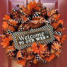 Halloween Wreath Halloween Deco Mesh Wreath by MsSassyCrafts
