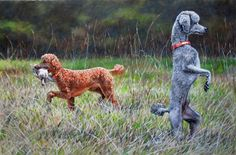 """""""Hunt Test Poodles"""" Yes, they are quite talented at retrieving, and this was an oil commissioned to depict a scene at a hunt test."""