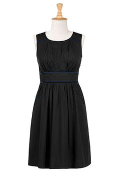 Color trim poplin dress...you can customize length, sleeves, and neckline for free until the end of March