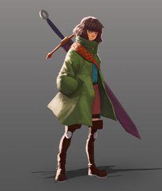 Sword Girl , Juan Perez Langarano on ArtStation at https://www.artstation.com/artwork/vzKEv
