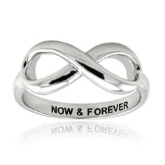 $25.00 This exquisite infinity ring is crafted in 925 sterling silver with rhodium plating. The inner band is engraved with now & forever in black as a token of the present and future. Top dimension: 8mm x 17mm