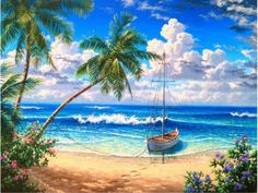 DIY Diamond Painting Blue sea View full Square Diamond embroidery Kits Pictures of crystals home deocr diy diamant malerei blaues meer Volle quadratmeter diamant Landscape Art, Landscape Paintings, Pictures Of Crystals, Diamond Drawing, Crystals In The Home, Blue Crystals, Image Nature, Delphine, Pictures To Paint