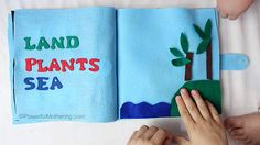 Creation: Land, Plants & Sea- No Sew Quiet Book for Toddlers Bible For Kids, Diy For Kids, Felt Busy Bag, Baby Quiet Book, Learning Shapes, Felt Quiet Books, Sunday School Crafts, Toddler Books, Busy Book