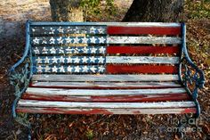 Stars And Stripes Art Print American Flag Display Art Print featuring the photograph Stars And Stripes by Southern Photo Patriotic Crafts, July Crafts, Americana Crafts, Patriotic Party, Old Benches, Garden Benches, Outdoor Benches, Garden Bar, Painted Benches