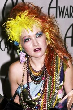Cyndi Lauper is known for embracing the funky fashions of the 80s, and putting her funky feel into her happy pop songs. Description from pinterest.com. I searched for this on bing.com/images