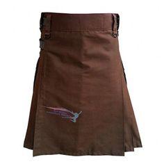 Chocolate Brown Leather Strap Utility Kilt For Active Man Kilt Wedding Kilts (48) at Amazon Men's Clothing store: