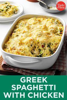 Greek Spaghetti with Chicken Greek Spaghetti, Baked Spaghetti, Chicken Spaghetti, Spaghetti Recipes, Chicken Penne, Greek Pasta, Greek Chicken, Clean Recipes, Healthy Recipes