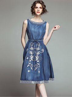 Shop O-neck Sleeveless Tie-waist Embroidered Dress at EZPOPSY. Denim Fashion, Fashion Pants, Girl Fashion, Fashion Dresses, Vintage Dresses, Nice Dresses, Short Dresses, Diy Dress, Dress Up