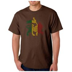 Los Angeles Pop Art Men's Rasta Lion One Love T-shirt