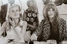 Françoise Dorléac and Catherine Deneuve during an interview for their film The Young Girls of Rochefort, 1967