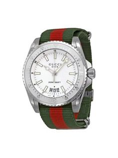 Gucci Dive Silver Dial Red and Green Nylon Men's Watch Size: White Gucci Watches For Men, Swiss Watches For Men, Luxury Watches, Hamilton Jewelry, Gucci Shop, Luxury Watch Brands, Watch Companies, Casual Watches, Stainless Steel Case