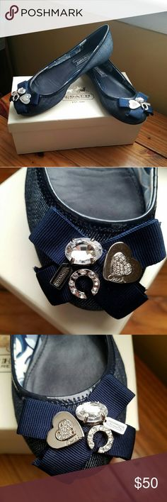 COACH flats, caper denim Used twice. In great condition except for 4 missing little stones in the heart which is not really noticeable cause its really small. Pls. Check all pics. Natural minimal sign of wears at the bottom. Make offers that you think is reasonable. Thru offer button pls. Coach Shoes Flats & Loafers