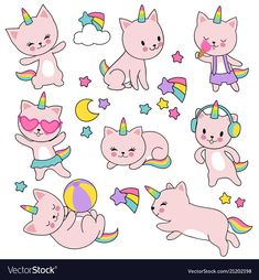 Catroon cute white cat unicorns set vector image on VectorStock Unicorn Pictures, Fairy Pictures, Cats Eye Stone, Doodles, F2 Savannah Cat, Unicorn Cat, Cats For Sale, Cat Furniture, Cat Drawing