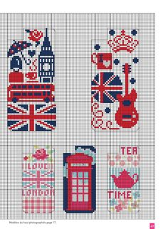 Free London motif iPhone cas  e cross stitch pattern Cross Stitch Bookmarks, Mini Cross Stitch, Cross Stitch Charts, Cross Stitch Designs, Cross Stitch Patterns, Cross Stitching, Cross Stitch Embroidery, Beading Patterns, Embroidery Patterns