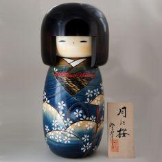 Kokeshi Jeunes filles (+ de 14 cm) Tsuki ni sakura  (32cm)