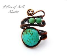 Boho ring / wire wrapped jewelry handmade / by PillarOfSaltStudio