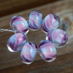 Twist of Purple  Dan O Lampwork Beads  Set of 7 Encased by koregon, $21.99
