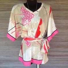 Kimono Style top Cute design, light colors. Pink, red, black, tan and cream. New York & Company Tops