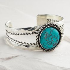 One of my favorite discoveries at WorldMarket.com: Silver and Turquoise Stone Cuff Bracelet